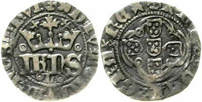 Medio real de dez soldos de Joao I. 1303690.m