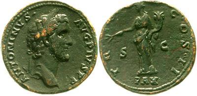 As de Antonino Pío. TR POT COS II / PAX. Paz a izq. Roma 5525227.m