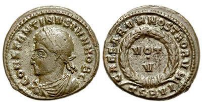 AE3 de Constantino II. CAESARVM NOSTRORVM / VOT V. Tesalónica  1062400.m