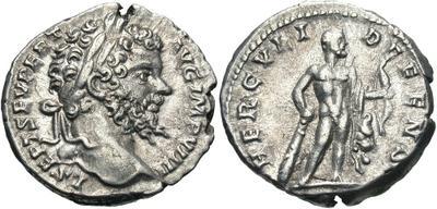 Denario de Septimio Severo. HERCVLI DEFENS. Hércules estante a dcha. Ceca Roma. 3262326.m