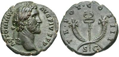 As de Antonino Pío. TR POT COS III S C. Dos cornucopias cruzadas. Roma. 3710204.m