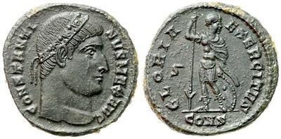 AE3 de Constantino I. GLORIA EXERCITVS. Soldado (Virtus?) estante a izq. Constantinopolis. 603462.m