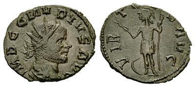 Antoniniano de imitación bárbara de Tétrico I, tipo VIRTVS con Virtus estante a izq. 1534249.m