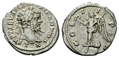 Denario de Septimio Severo. COS II PP. Victoria a izq. Laodicea ad Mare. 1834703.m