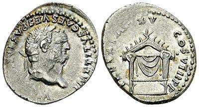 Denario de Tito. TR P IX IMP XV COS VIII P P, Trono de Júpiter. Roma 2232719.m