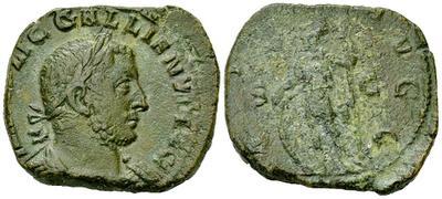 Sestercio de Galieno. VIRTVS AVGG - S C. Virtus estante a izq. Ceca Roma. 3173689.m