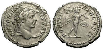 Denario de Caracalla. PONTIF TR P X COS II, ceca Roma. 3581323.m