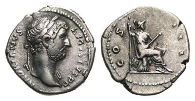 Denario de Adriano. COS III. Roma sedente a dcha. Roma 2457166.m