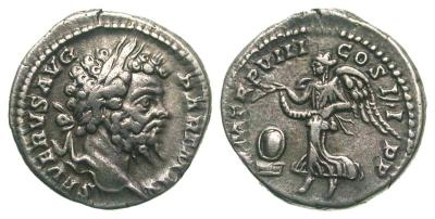 Denario de Septimio Severo. P M TR P VIII COS II P P. Victoria 2537831.m