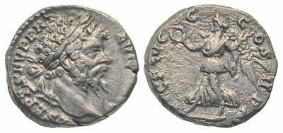 Denario de Septimio Severo. VICT AVGG COS II P P. Victoria 2686202.m