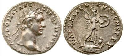 Denario de Domiciano. IMP XXII COS XVI CENS P P P. Minerva 3706428.m