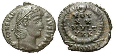 AE4 de Constancio II. VOT / XX / MVLT / XXX.  Antioquía 4011890.m