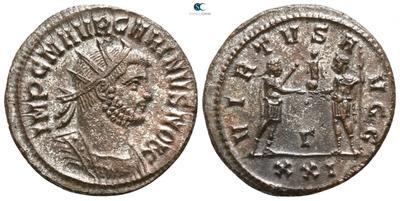 Aureliano de Carino. VIRTVS AVGG. Emperador y Júpiter. Antioquía 4567764.m
