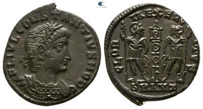 AE4 de Constancio II o Delmacio. GLORIA EXERCITVS. 5063708.m
