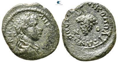 AE18 (Assarión) de Heliogábalo. Racimo. Nikopolis de Istrum 6210114.m