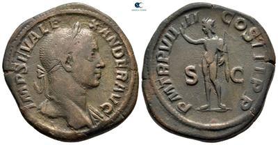 Sestercio Alejandro Severo. P M TR P VIIII COS III P P. Sol con látigo a izq. Roma 7806147.m