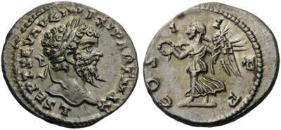 Denario de Septimio Severo. COS II PP. Victoria a izq. Laodicea ad Mare. 3173094.m