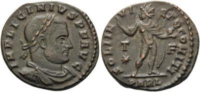 Nummus a nombre de Crispo  acuñado por Licinio I. IOVI CONSERVATORI CAESS. Júpiter a izq. Alexandría (Las reformas de Licinio I) 5532332.m