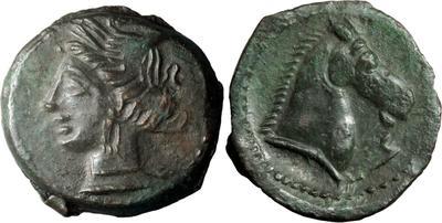 AE22 de Cartago. 300-264 a.C. Tanit y caballo. 7277936.m