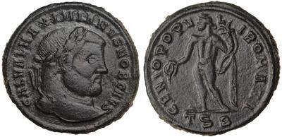 Nummus de Constancio I Cloro. GENIO POPV-LI ROMANI. Genio estante a izq. 6319998.m