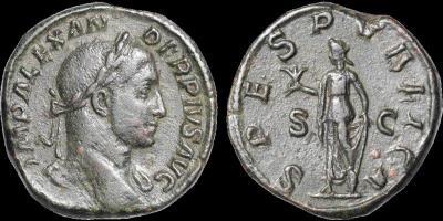 Sestercio de Alejandro Severo. SPES PVBLICA. Roma 4367251.m
