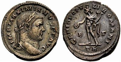 Nummus de Maximiano Hércules. GENIO POPV-LI ROMANI. Genio estante a izq. Trier. 787207.m