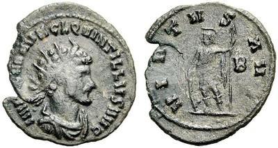 Antoniniano de Quintilo. VIRTVS AVG. Valor a izq. Roma 979090.m