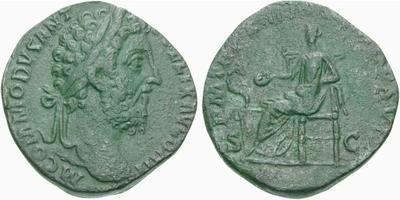 Sestercio de Cómodo. Salus sedente a izq. Roma. 128065.m