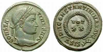 AE3 de Constantino I. DN CONSTANTINI MAX AVG / VOT XX. Siscia 283008.m