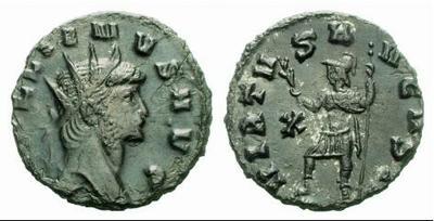 Antoniano de Galieno. VIRTVS AVGVSTI. Marte estante a izq. Roma. 317318.m