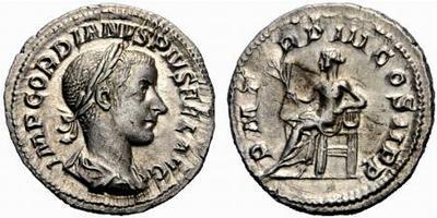 Denario Gordiano III. P M TRP III COS II P P. Apolo sedente a izq. Ceca Roma. 502574.m