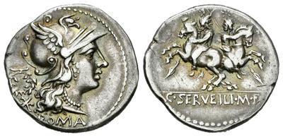 Denario cóncavo gens Servilia. C. SERVEILI. M. F. Los Dióscuros a caballo. Italia Central. 5680900.m
