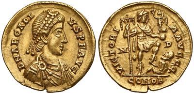 Sólido de Honorio.VICTORIA AVGGG. Emperador a dcha. Mediolanum. 5663169.m