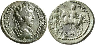 AE23 de Cómodo. COL AVG / TROA. Estatua de Apolo Smintheo y Alexandro Magno a caballo. Alexandría de la Tróade 5556154.m