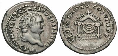Denario de Tito. TR P IX IMP XV COS VIII P P. Trono de Júpiter. Roma  4873090.m