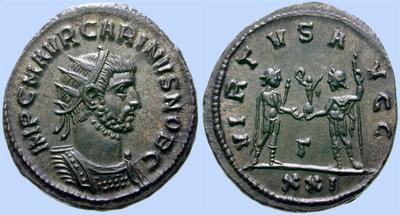 Aureliano de Carino. VIRTVS AVGG. Emperador y Júpiter. Antioquía 150203.m