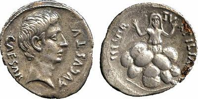Denario de Augusto. TVRPILIANVS III VIR. Roma 1021512.m