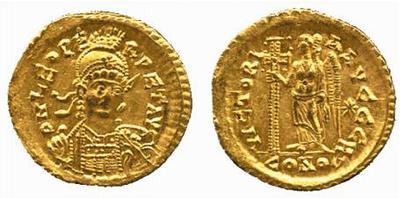 Solido de León I. VICTORI-A AVGGGH. Constantinopla 322300.m
