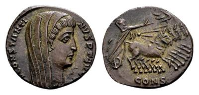 AE4 póstumo de Constantino I. Cuádriga 6464979.m