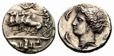 Tetradracma eubeo-ático. Tirania de Agatokles. (317–310 A.C.). Siracusa. Inspirado en los decadracmas de Evainetos. 219127.m