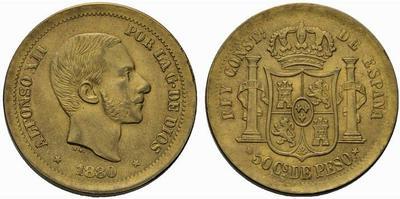 Cuño auténtico para 50 centavos de Peso. 1880. Filipinas. 577684.m