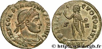 Nummus de Constantino I. SOLI INVICTO COMITI. Sol a izq. Arlés 866134.m
