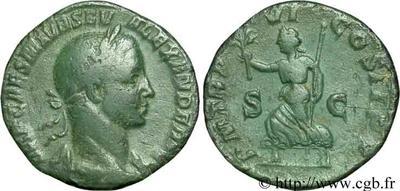 Sestercio de Alejandro Severo. P M TR P VI COS II P P. Pax a izq. Roma 45583.m