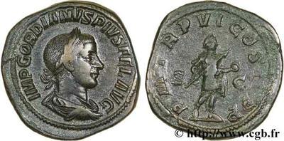 Sestercio de Gordiano III. P M TR P V COS II P P. Emperador con lanza y globo. Roma 50240.m