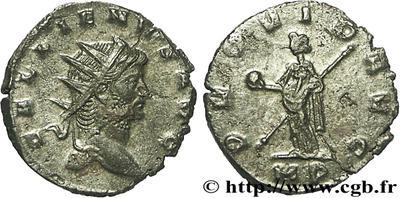 Antoniniano de Galieno. PROVID AVG. Providentia estante a izq.  57359.m