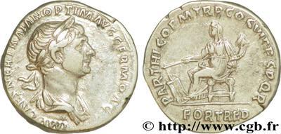 Denario de Trajano. PARTHICO P M TR P COS VI P P S P Q R / FORT RED. Roma 62475.m