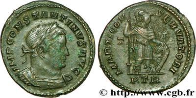 Nummus de Constantino I. MARTI CONSERVATORI. Marte a dch. Trier 65354.m