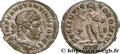 Nummus de Constantino I. SOLI INVICTO COMITI. Trier 464335.m