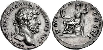 Denario de Adriano. P M TR P COS III. Roma  1956801.m