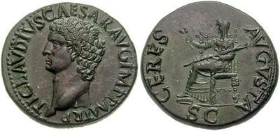 Dupondio de Claudio I. CERES AVGVSTA. Ceres sedente a izq. Roma 131396.m